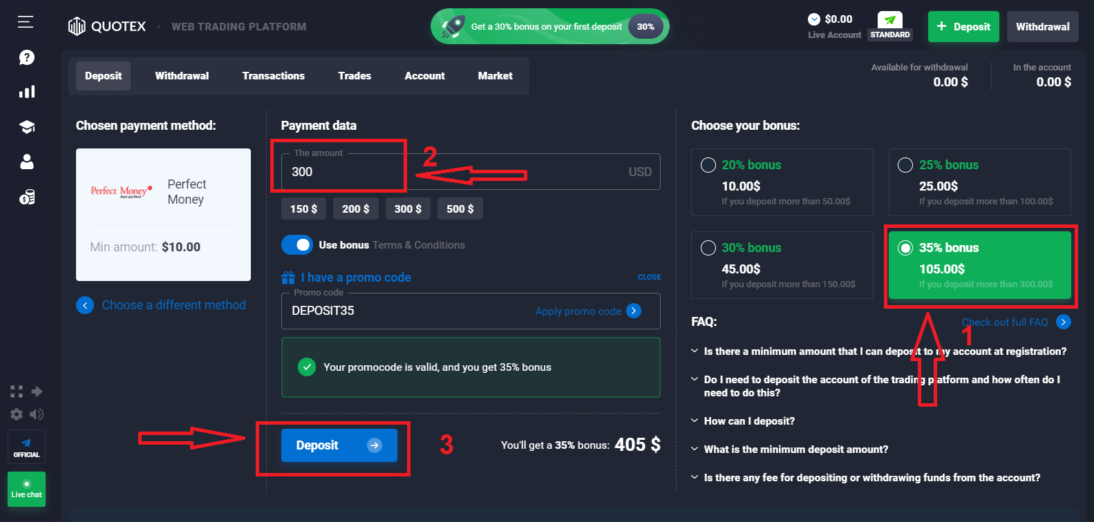 How to Login and Deposit Money in Quotex