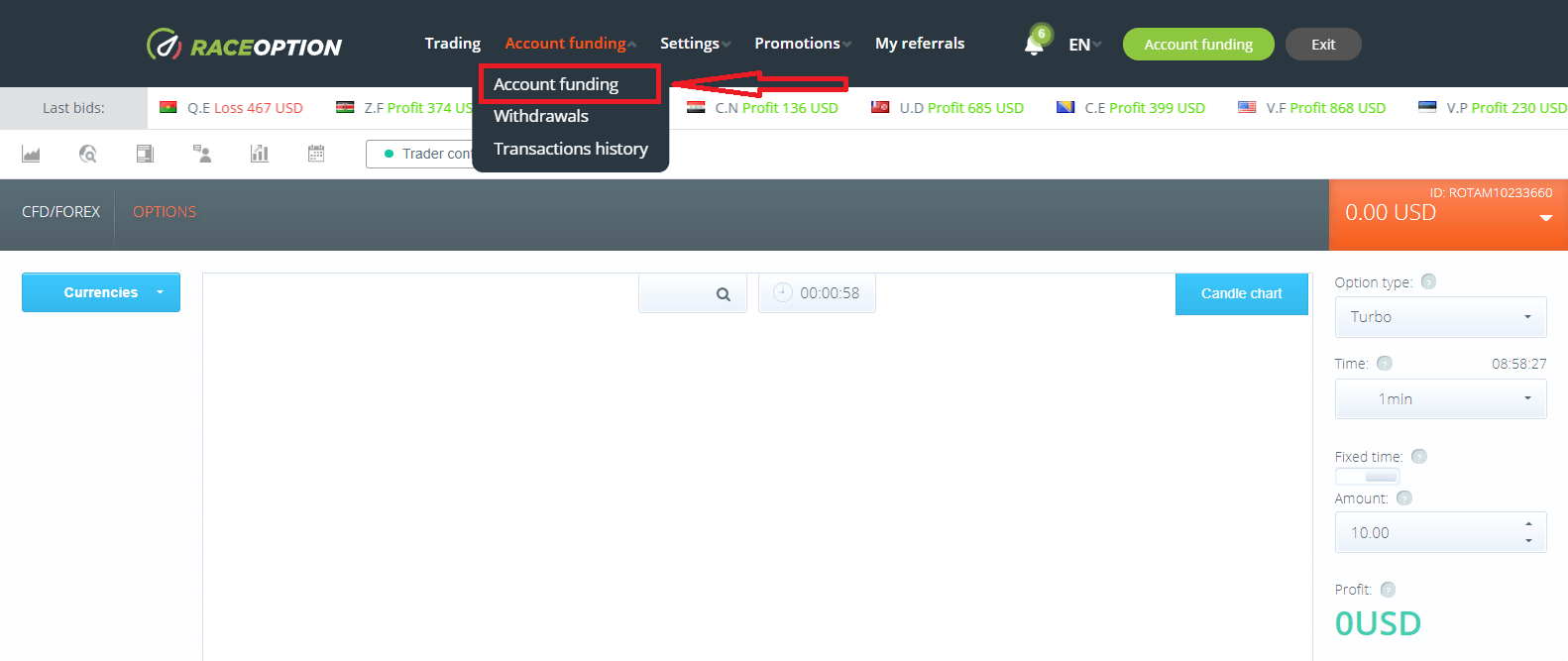How to Withdraw and Make a Deposit Money in Raceoption